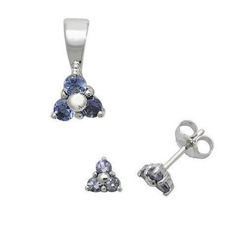 Tanzanite Pendant and Earrings Set Three Stone Trilogy 9ct White Gold Hallmarked